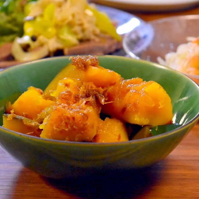 Pumpkin cooked with Katsuobushi (bonito flakes)